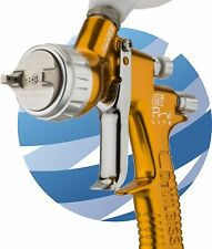 DeVilbiss GTI PRO Lite Gravity Spray Gun TE20 Aircap 1.2 & 1.3mm Nozzles - Gold