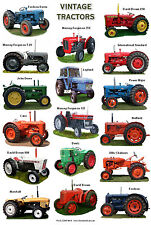 A4 LAMINATED POSTER..... Vintage Tractors David Brown,Fordson,Nuffield,Ferguson