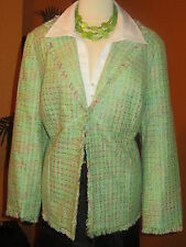 * LANE BRYANT 20 plus broquet light green tweed jacket coat blazer NEW NO TAG