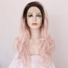 Ombre Dark Roots Pink Heat Resistant Long Wavy Synthetic Hair Lace Front Wigs