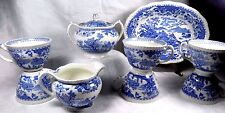 9 Piece LOT Woods Burslem Blue Seaforth Transferware England Sugar Bowl Creamer
