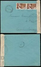 FRENCH AFRICA 1940 BRAZZAVILLE AEF 50c x 2...CENSOR TAPE MOYEN CONGO COLONIAL
