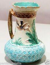 Antique Majolica Vase Basket Weave Turquoise Base Branch Handle Birds In Flight