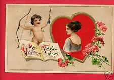 MY VALENTINE THINK OF ME CUPID WOMAN STRUBE SCHENECTADY NY 1914 WINSCH  POSTCARD
