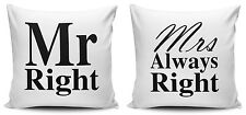 Set of Mr Right & Mrs Always Right White Cushion Covers - 40cm x 40cm - New