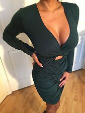 Green Deep V Plunge & Ruched Detail Evening Cocktail Party Dress S