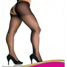 5029 - Sexy black nylon open gusset sheer tights womens hoisery One size