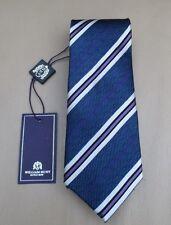 BNWT William Hunt Savile Row Blue Purple Silk Stripe Tie RRP £95