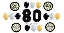 18pc BALLOON set 80th BIRTHDAY classy BLACK silver GOLD gift SPARKLE swirl PARTY