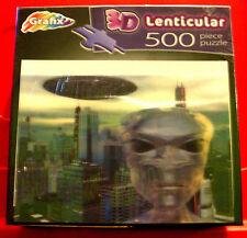 3D Lenticular ALIEN INVASION 500 Jigsaw Puzzle NEW SEALED 3-D Moving Image/City