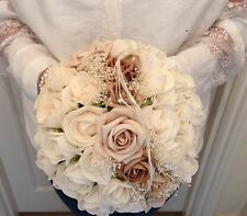 BRIDES WEDDING FLOWERS IVORY CREAM MOCHA CHAMPAGNE ROSES VINTAGE CHIC BOUQUET