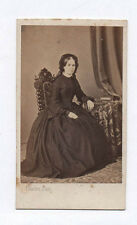 PHOTO ANCIENNE CDV Femme Mode Vers 1870 Charles Bordeaux Coiffe Assise Chaise