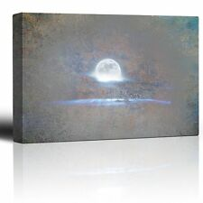 Wall26 - Glowing Full Moon on a Grey Texture Background - Canvas Art - 12x18