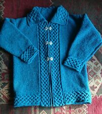 "OOAK. New Donegal tweed aran celtic hand knitted jacket. XL 46"" chest"