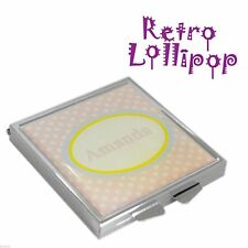 Retro Lollipop Contemporary Personalised Pink Spotty Handbag Mirror