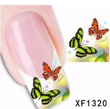 Lot Of 4 Butterfly NAIL ART DIY DECAL TIPS WATER TRANSFER