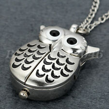 Retro Owl Shape Chic Pocket Watch Pendant Analog Quartz Necklace Watches Gift