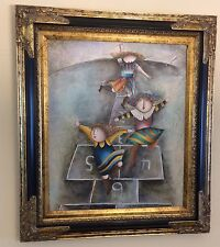 "Framed, J. Roybal 3 Kids Playing Hopscotch, Hand Painted Oil Painting,20""x 24"""