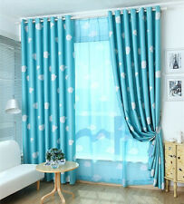 Blockout Blackout Eyelet Curtains Blue Drapes Kids Baby Boy's Girl's Room 140cm
