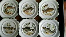 Vtg. Set Of 6 Beautiful Hand Painted Plates Of Fish Species Sandland  Ware Engla