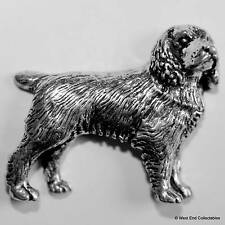Spaniel Pewter Pin Brooch - British Hand Crafted- Gun Dog Hunting English Cocker