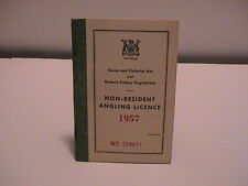 1957 ONTARIO CANADA NATURAL RESOURCES NON RESIDENT FISHING ANGLERS BOOK LICENSE
