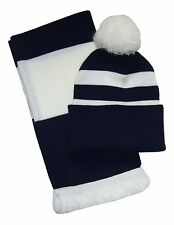 Navy Blue and White, Scarf and Hat Set