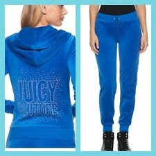 New Women's Juicy Couture Tracksuit Royal Blue Velour Hoodie Jogger Pants Medium