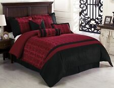 7-Piece Dynasty Jacquard Comforter Set Bed-In-A-Bag Black/Red California King