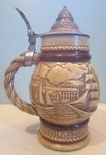 Vintage 1977 Avon Collectible Lidded Beer Stein Sailing Ships made in Brazil