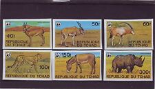 CHAD - SG555-560 MNH 1979 ENDANGERED ANIMALS - WWF - IMPERF