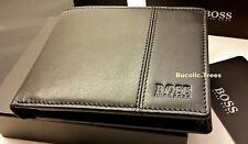 BRAND NEW DESIGNER HUGO BOSS 'CAENESTIR'BI-FOLD BLACK COIN POCKET LEATHER WALLET