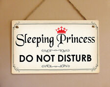 Shabby chic metal hanging sign sleeping princes do not disturb door plaque gift