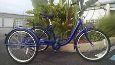"Blue Adult Tricycle, Brand New! 24"" 3 Wheel Bicycle Big Seat High Quality Trike!"