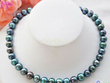 """9-10mm PEACOCK BLACK ROUND Freshwater cultured PEARL NECKLACE 18"""" 14K Clasp"""