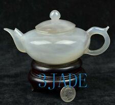 "6"" Natural Agate / Chalcedony Teapot / Tea Pot Statue /  Carving / Sculpture"