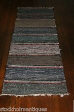 Great, Heavy-duty Antique Swedish Hand Made Rag Rug (23.5x91.5 inches)