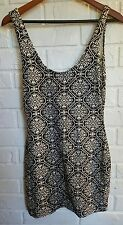 Insight tight stretch bodycon dress size 6 sleeveless summer black white