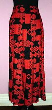 Carole Little NWT True Red/Black Artsy Abstracts 8 Gore Long Full Skirt 12