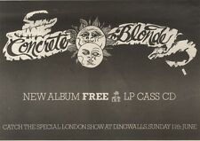 20/5/89Pgn36 Advert: Concrete Blondes New Album 'free' Out Now On Irs 7x11