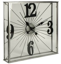 Large Art Deco Style Square See Through Glass Chrome Black Wall/Mantle Clock NEW