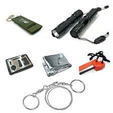Hot Sale Survival Kit Emergency Whistle Blanket Fire Flint Wire Saw Knife Torch