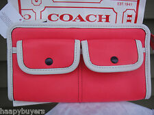 NEW WITH TAG COACH LEGACY TWOTONE LEATHER ZIPPY WALLET.CORAL/SNOW.NEW &GENUINE