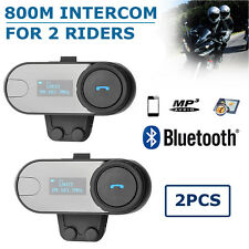 800M Motorbike Intercom Headset Bluetooth Helmet Interphone Communication FM LCD