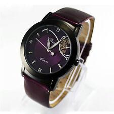 Vintage Women Girls Watches Diamond Leather Band Analog Quartz Wristwatch Purple