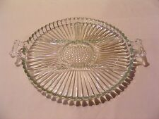 CLEAR GLASS ROUND TWO HANDLE RIBBED RELISH TRAY