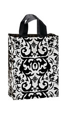 """Count of 100 Bags Medium Black Damask Frosted Plastic Shopping Bags 8""""x 5""""x10"""""""