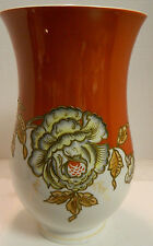 "Vintage Embossed Hand Painted Schaubach Kunst Floral Vase 9.25"" x 5.75"" Excell"