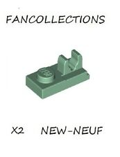 LEGO-X2 Sand Green Plate, Modified 1 x 2 with Clip on Top , 92280 NEUF