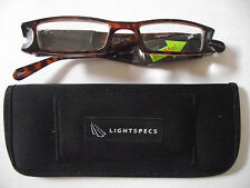 Foster Grant Light Specs Reading Glasses Brown +1.50 W/case cloth, batteries